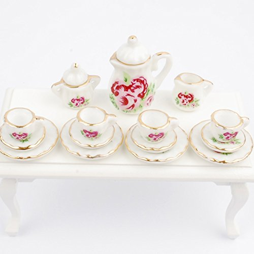 NW 1 Set 15 pieces Red Peony Ceramics Tea Cup Set Lovely Dollhouse Decoration Set Dollhouse Kitchen Accessories (Teacup Peony Set)