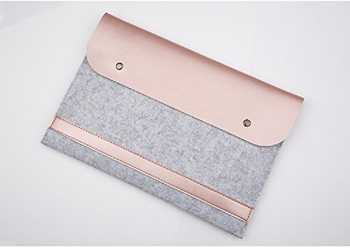 Funnylive Felt & PU Leather Laptop Protective Bag Ultra Slim 13 Inch New MacBook Pro for 2016 Released Computer Sleeve Case Pouch Pocket Cover Carrying Envelope Bag (Rose gold)