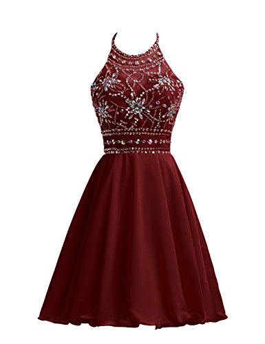 0baa013ecc23 ... Juniors Prom Dresses Maroon Halter Party Dresses Beading Chiffon Sheer  Neck Ball Gown.   