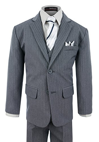 Boy's Formal Pinstripe Dresswear Suit Set #G220 (2T, (Grey Stripe Wool Suit)
