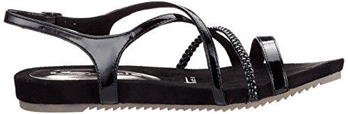Tamaris Women's 28106 Sling Back Sandals, Silver (Silver Struct. 927) Black (Black Patent 018)