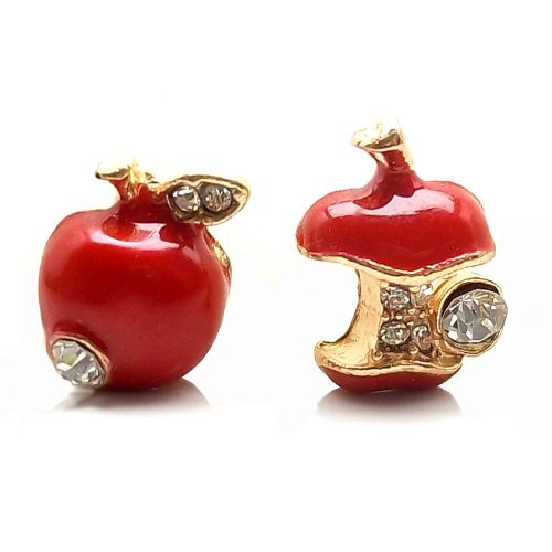 DaisyJewel Golden Delicious Red Snow White Asymmetrical Apple Stud Earrings (Mary Margaret Once Upon A Time Fashion)