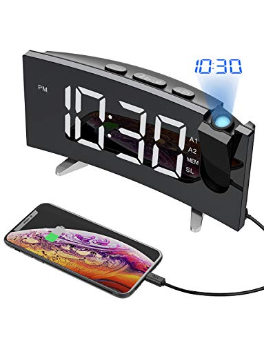 PICTEK Projection Alarm Clock, 5'' Large Curved LED Display, 6 Dimmer, Dual Alarms, 15 FM Radio Clock, Digital Alarm Clock Projection on Ceiling, Bedroom, USB Phone Charger, Snooze (1. White)