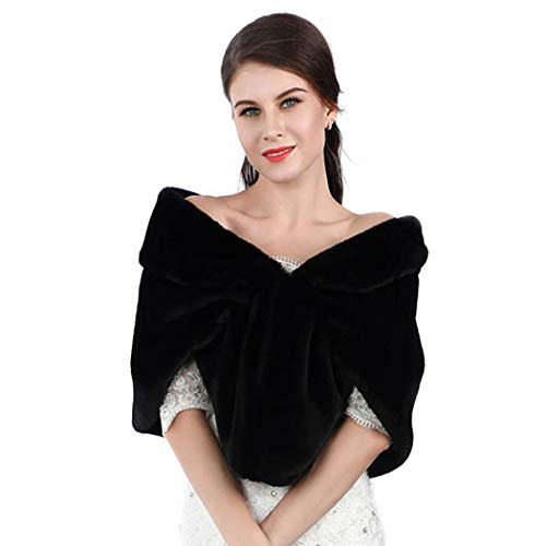 Chicer Bride Wedding Faux Fur Shawls and Wraps Bridal Fur Scarf Stoles for Women and Girls (Black) (Fur Formal Black Shawl)