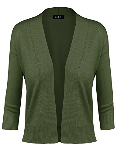 BH B.I.L.Y USA Women's Classic Open Front Cropped Cardigan Olive Medium