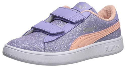 (PUMA Girls' Smash V2 Velcro Sneaker sweet lavender-peach bud- silver- white 11 M US Little Kid)