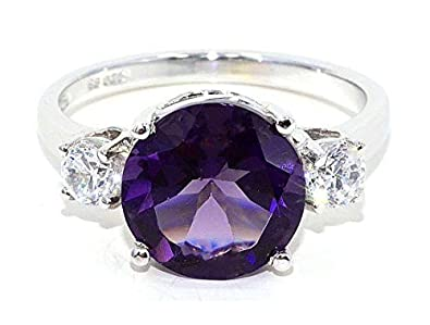 Elizabeth Jewelry 10mm Created Alexandrite Zirconia Round Ring .925 Sterling Silver Rhodium Finish
