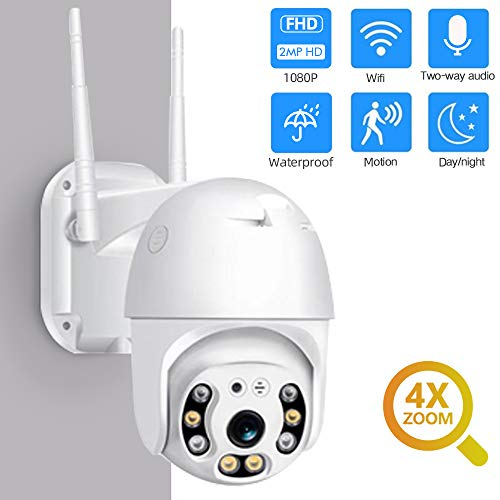 Outdoor WiFi Security Camera, 1080P Pan Tilt Zoom Surveillance CCTV IP Weatherproof PTZ Camera with Two Way Audio Motion Detection Colorful Night Vision