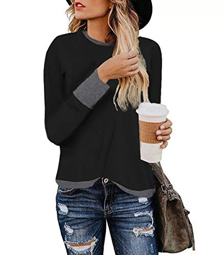 Women's Sexy Leopard Long Sleeve Loose Blouse Casual Color Bolck Splicing Tops Pullover Shirts (L, Black)