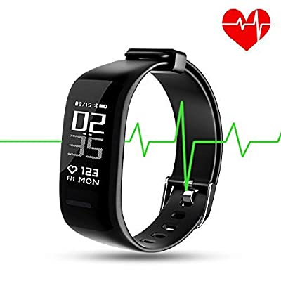 TIISON Fitness Tracker, BY1 IP67 Waterproof Activity Wireless Smart Bracelet with Continuous Heart Rate Monitor Step Calorie Sleep Counter Bluetooth Wristband Pedometer Sports Smart Band