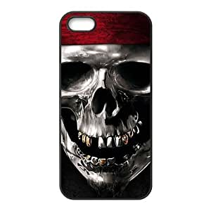 iPhone 5 5S Case,Metal Pirate Skull High Definition Personalized Design Cover With Hign Quality Hard Plastic Protection Case