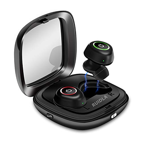 Wireless Earbuds, Noise Cancelling Bluetooth Headphones in-Ear True Wireless Earbuds 10H Playtime Deep Bass Built in Microphone, with Portable Charging Case Sweatproof While Sports by Ruidla