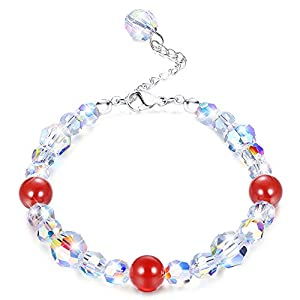 KesaPlan Swarovski Crystals Bracelets, Swarovski Red Bead Aurora Crystals Bracelets for Women Girls Stretch Bracelets…