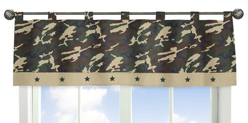 Sweet Jojo Designs Window Valance - Green Camo Army Military Camouflage