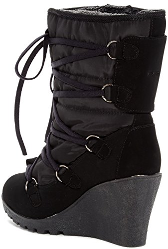 Carrini CA Collection Womens Fashion Faux Shearling Lined Lace-Up Wedge Booties Black t1kPJhP0