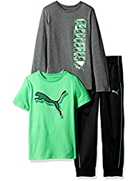 PUMA Baby-Boys Boys' Three Piece T-Shirt and Pant Set Sweatsuit