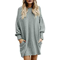 Elogoog Sweater for Women, Solid Long Sleeve Casual Tunic Dress Crew Neck Loose Pullover Blouse with Pocket