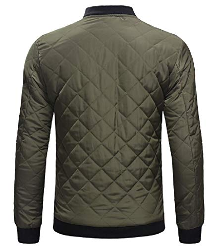 Jackets Jacket Bomber Insulated Padded Lightweight Quilted Zip EKU Green Men's Up Casual xqI7FwIvW