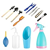 14 Pieces Succulent Plants Tools, Mini Garden Hand Tools Miniature Fairy Garden Tools Kit Bonsai Tools Planting Set with Scissors, Mini Rake, Shovel, Transplanting Tool Watering Can etc