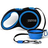 Retractable Dog Leash - 16 Foot Reinforced Nylon with Collapsible Water Bowl - 1-Touch Locking System - Tangle-Free - Anti-Slip Rubberized Handle by TRDL