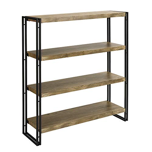 FIVEGIVEN 4 Shelf Bookcase with Open Storage Book Shelves Rustic Industrial Metal, Sonoma ()