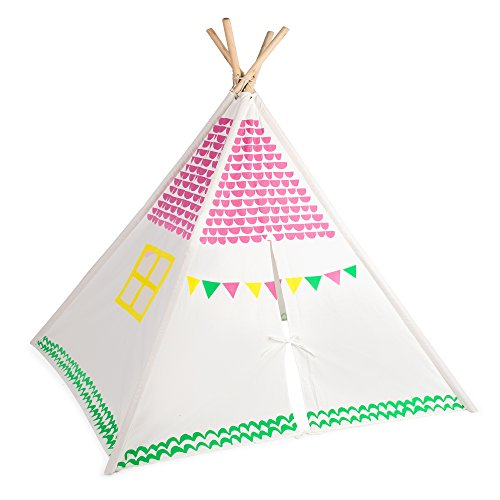 Kid's Teepee Play Tent for Kids with Carry Case, Childrens Playhouse, Playroom (Furniture Marquis)