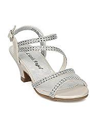 Open-Toe Mesh & Rhinestone Strappy Heel Sandal