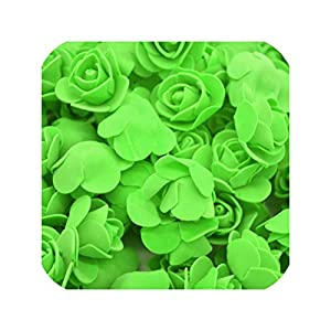 entertainment-moment 50Pcs/Lot 3.5Cm Pe Foam Rose Head Artificial Rose Flowers Home Garden Decorative Wreath Supplies Wedding Event Party Decoration,F13 Green 45