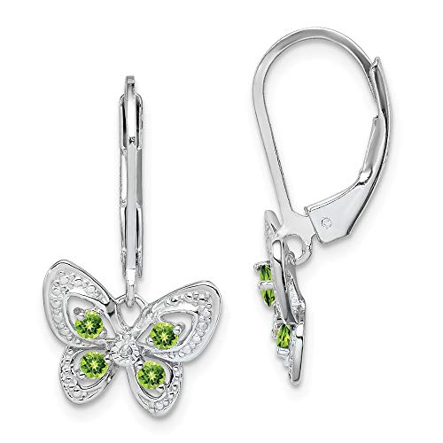 925 Sterling Silver Green Peridot Diamond Leverback Earrings Lever Back Drop Dangle Animal Butterfly Fine Jewelry Gifts For Women For Her