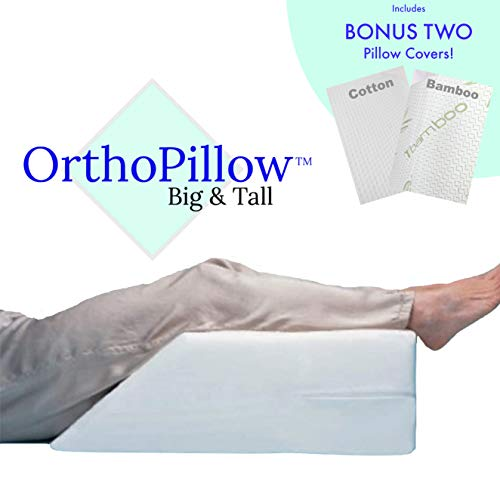 ORTHOPillow Big and Tall | Elevating Leg Rest Wedge Pillow with Memory Foam Top | Bonus - Free Second Breathable Cotton Cover | Best for Back, Knee Pain Relief, Foot ()
