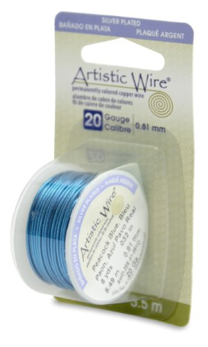 Artistic Wire 20-Gauge Silver Plated Peacock Blue Wire, 6-Yards