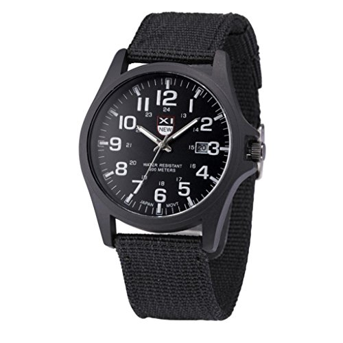 AmyDong Mens Date Calendar Stainless Steel Military Analog Quartz Army Wrist Watch Outdoor Sports Watch (Black) ()