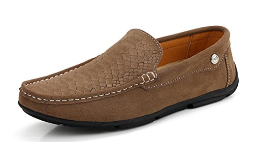 TDA Mens Casual Slip-on Suede Driving Walking Loafers Boat Shoes Khaki 0sANi