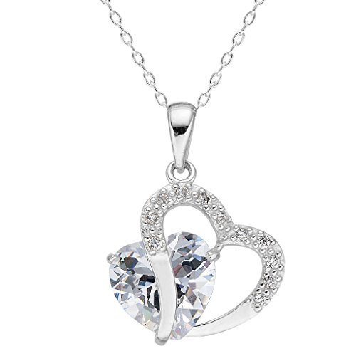 Amazon Lightning Deal 72% claimed: EleQueen 925 Sterling Silver Full Cubic Zirconia Double Love Heart of Ocean Titanic Inspired Pendant Necklace