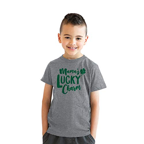 Youth Mama's Lucky Charm Funny Irish Shamrock St. Patrick's Day T Shirt (Heather Grey) - S