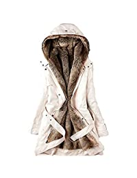Faux Fur Coat,Womens Winter Warm Thick Long Jacket Hooded Parka Changeshopping