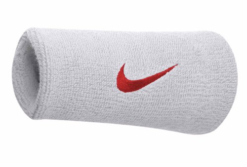 Nike Swoosh Doublewide Wristbands (White/Varsity Red, Osfm)
