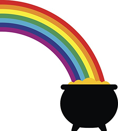 Pot of Gold at End of Rainbow Cartoon Vinyl Decal Sticker (8