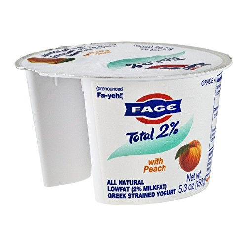 Fage Total Greek 2% Greek Yogurt, Peach, 5.3 Ounce (Pack of 12)