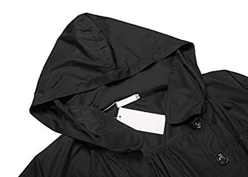 Anteriori Jacket Donna Elegante Con Antivento Chic Single Breasted Giubbino Giaccone Moda Pioggia Manica Outdoor Lunga Cute Autunno Mantello Monocromo Tasche Cappuccio Bavero Schwarz txU5rwU6