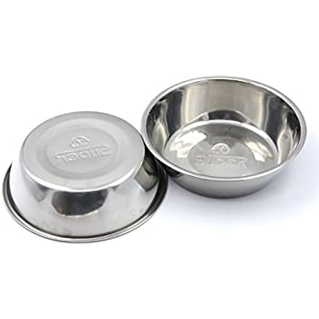 SUPER DESIGN Stainless Steel Pet Bowl Package for Dogs and Cats, 1 Pack of 2 , S