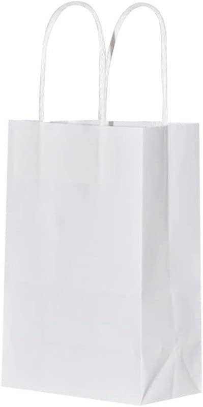 100 Pack Sturdy Small White Kraft Paper Bags with Handles Bulk, bagmad Gift Bags 5.25x3.25x8 inch, Craft Grocery Shopping Retail Party Favors Wedding Bags Sacks (White, 100pcs)