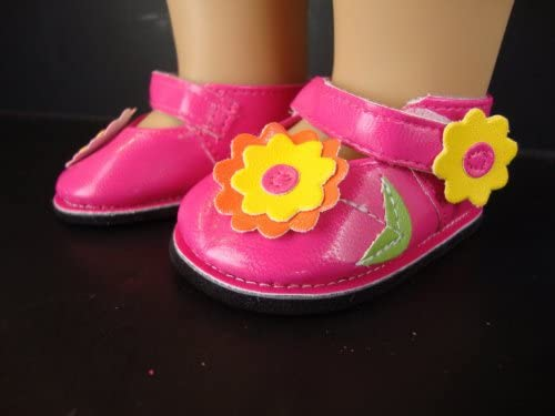 Amazon.com  Hot Pink Dress Shoes with Colorful Flowers for the 18 Inch Doll  Made for the American Girl Doll  Toys   Games 99e4c45bc8fe