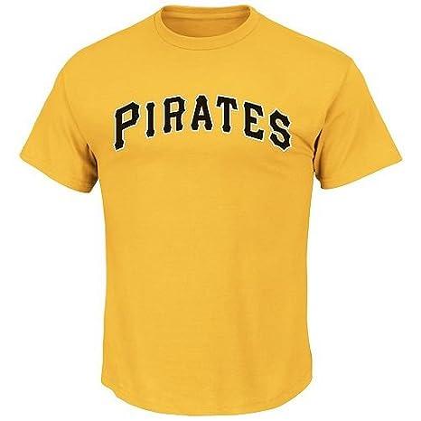 5e883453da3c1a Blank Back Adult 2XL Yellow Pittsburgh Pirates MLB Licensed Cotton Crewneck  Replica Jersey T-Shirt