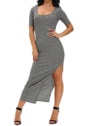 Eiffel Women's Side Slit Ribbed Half Sleeve Casual Party Maxi Dress Grey