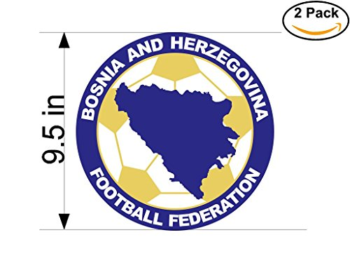 Bosnia and Herzegovina Football Federation Bosnia & Herzegovina Soccer Football Club FC 2 Stickers Car Bumper Window Sticker Decal Huge 9.5 inches by CanvasByLam