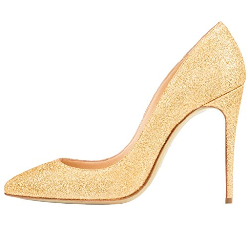 EKS Damen Zesagh Spitzschuh Sexy Slip-on 10cm Stilettos Absatz Kleid-Pumpen Gold-Glitter