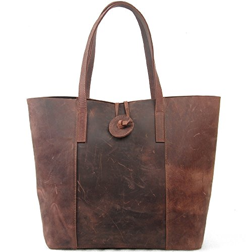 Suede Leather Tote Bag - Jack&Chris New Vintage Cowhide Leather Handbag Tote Shoulder Bag Purse, MC506 (brown)