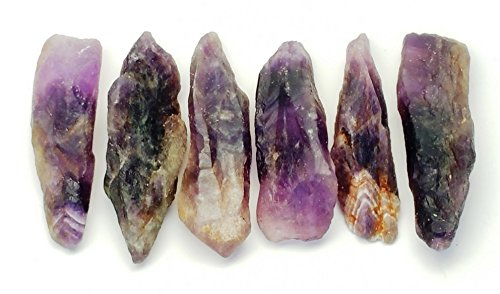 Raw Purple Amethyst Crystal Natural Points, 6 pcs Lot in Gift Pouch / Perfect for Jewerly Making Necklace Wire Wrapping Pendants and Crystal Grids
