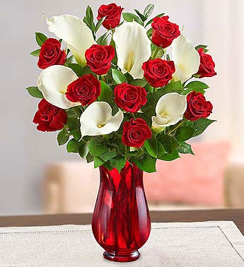 1800Flowers Red Rose and Calla Lily Bouquet with Red Vase (12 Roses, 6 Calla Lilies)